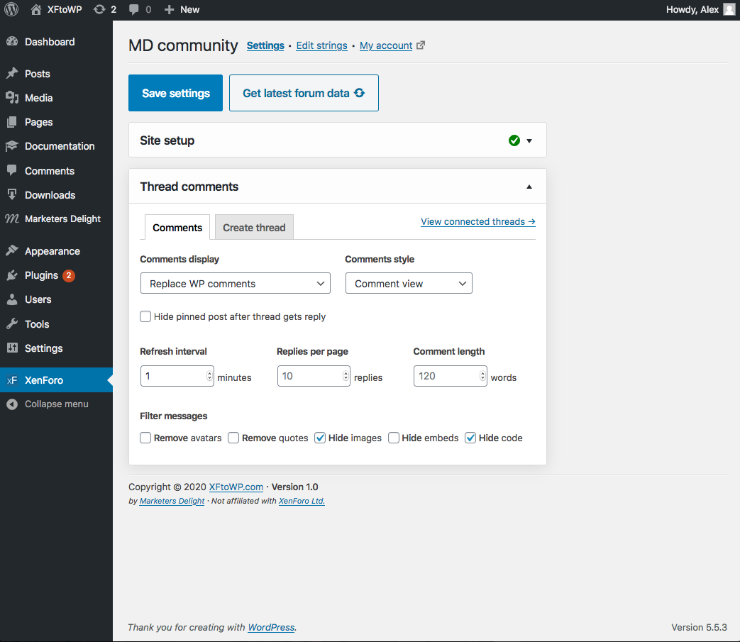 XFtoWP admin settings