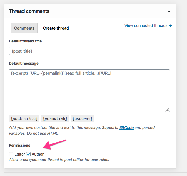 Add custom user roles to Thread comments