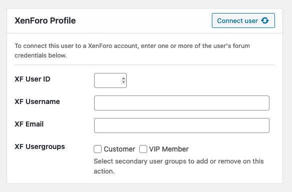 Manually connect users from XenForo to WordPress