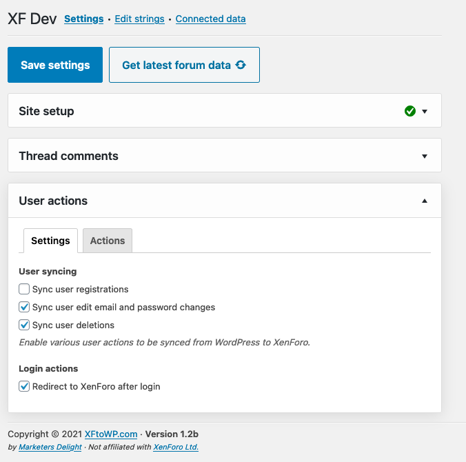 XFtoWP user action settings panel