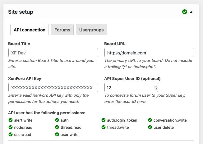 XFtoWP site setup options